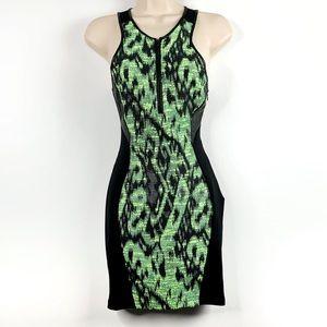 Astr Bodycon Mini Dress Black and Neon Green SZ XS